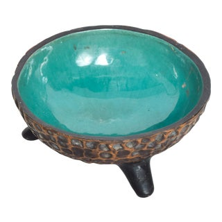 Modern Mexican Tripod Base Decorative Bowl From Texcoco For Sale