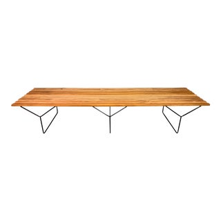 Vintage Mid Century Modern Mahogany Slat Bench by Harry Bertoia for Knoll For Sale