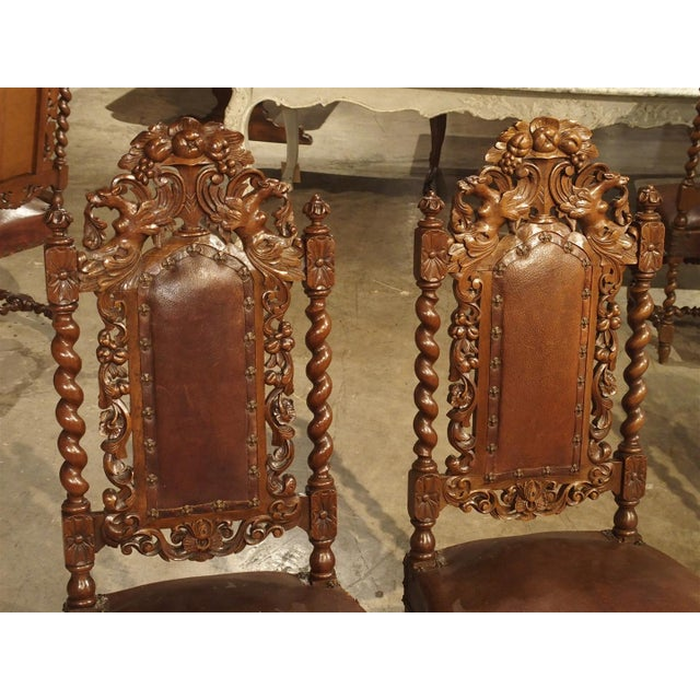 Set of 9 Antique Walnut and Leather Dining Chairs from France, Circa 1880 -  Image - Incredible Set Of 9 Antique Walnut And Leather Dining Chairs From