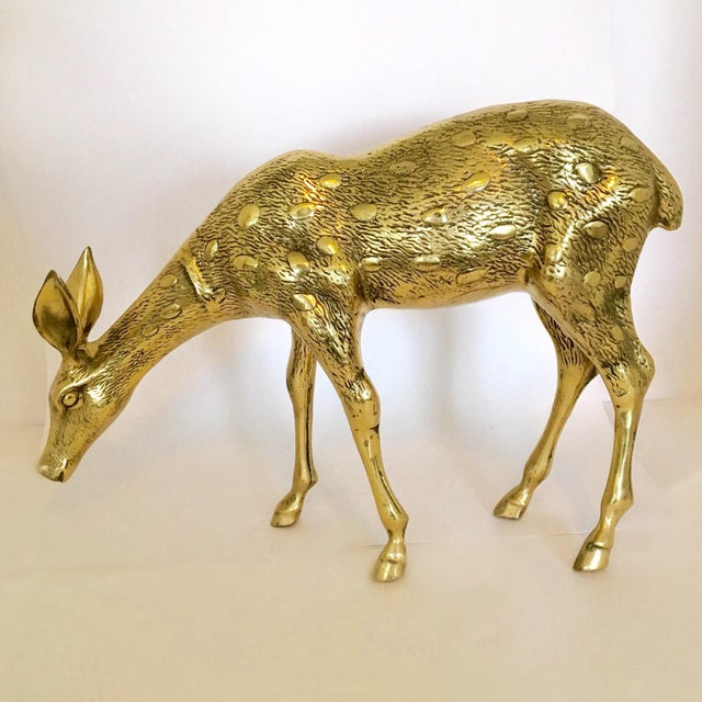 Large Vintage Brass Doe And Buck - Pair For Sale - Image 5 of 6