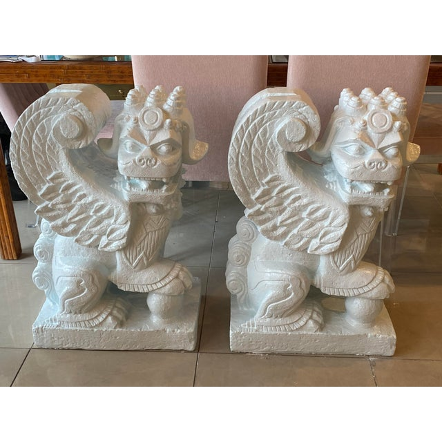 Baby Blue Vintage Chinoiserie Hollywood Regency Plaster Light Blue Lacquered Foo Dogs For Sale - Image 8 of 13