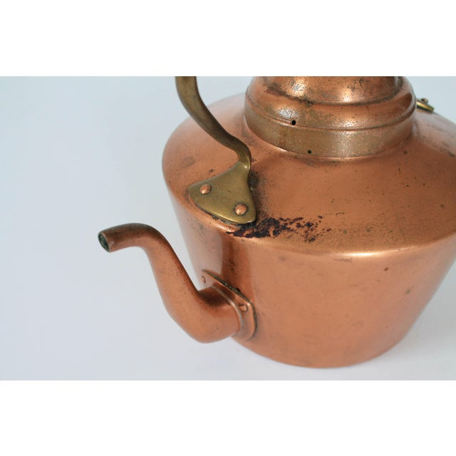 Vintage Copper & Brass Kettle Teapot For Sale - Image 4 of 8