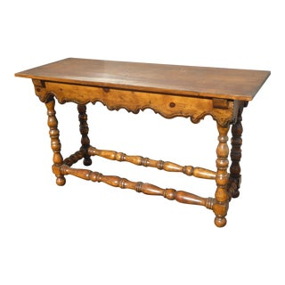 Vintage French Country Farmhouse Rustic Entry Side Sofa Table For Sale