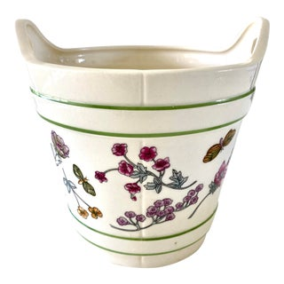 Vintage 1970's Floral Cachepot Made Expressly for Elizabeth Arden For Sale