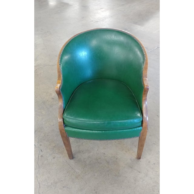 Baker Furniture Company Vintage Baker Furniture Green Leather Library Chairs - A Pair For Sale - Image 4 of 10