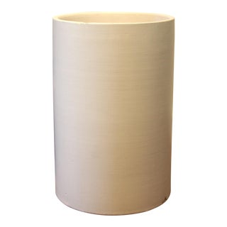 Modernist Tall White Cylindrical California Pottery Planter For Sale