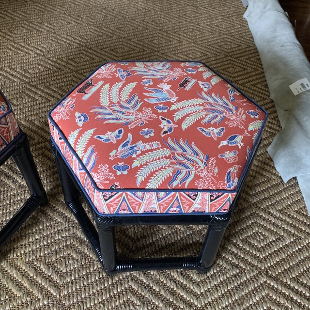 1960s Willow & Reed Chinoiserie Rattan Octagonal Ottomans- a Pair. Newly and professionally upholstered in Quadrille China...