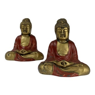 Vintage Gold and Red Buddha Bookends - a Pair For Sale