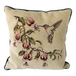 Victorian Style Needlepoint Pillow With Hummingbird For Sale