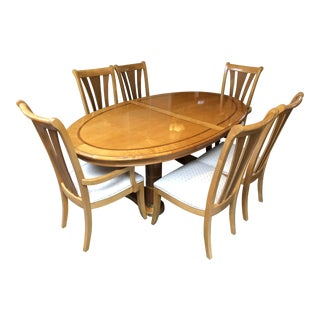 Transitional Stanley Furniture Birds Eye Maple and Walnut Inlay Dining Set - 7 Pieces