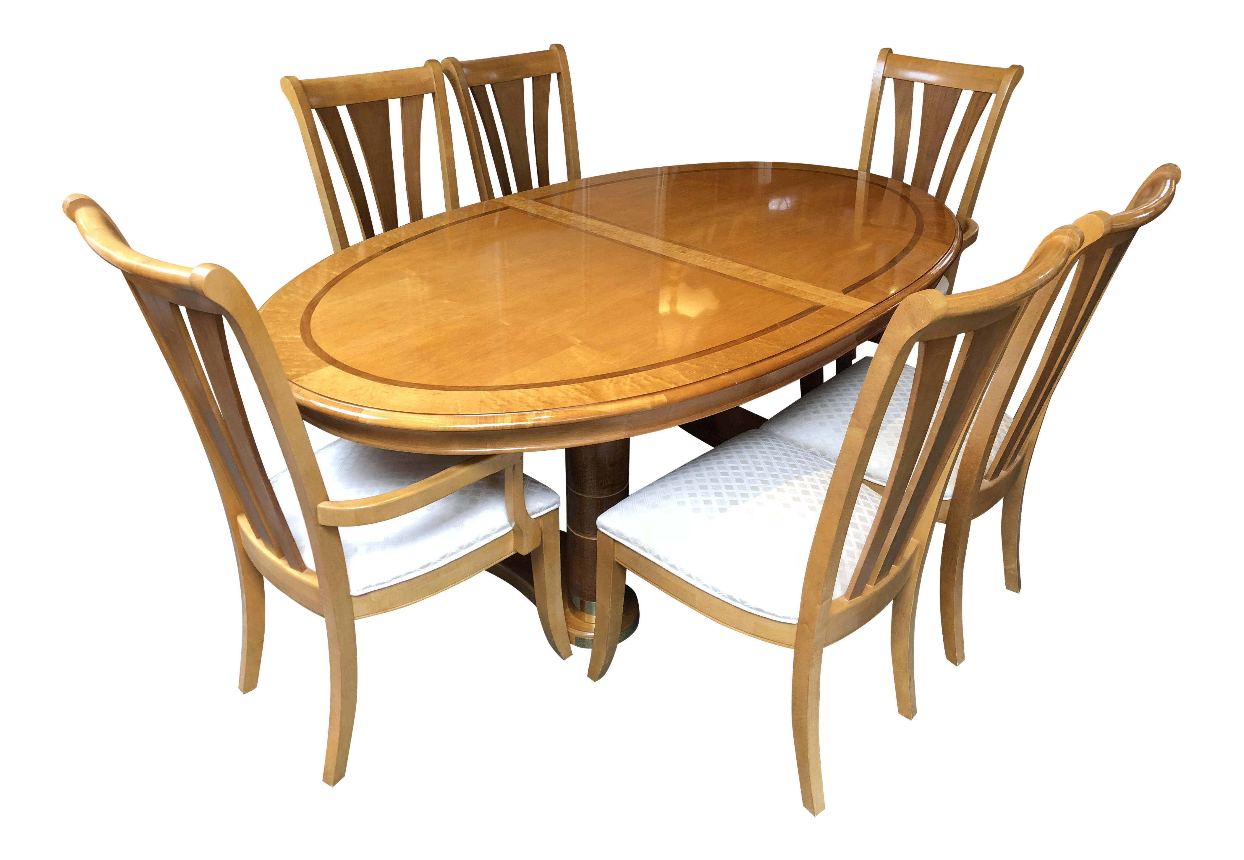 Transitional Stanley Furniture Birds Eye Maple And Walnut Inlay Dining Set    7 Pieces For Sale