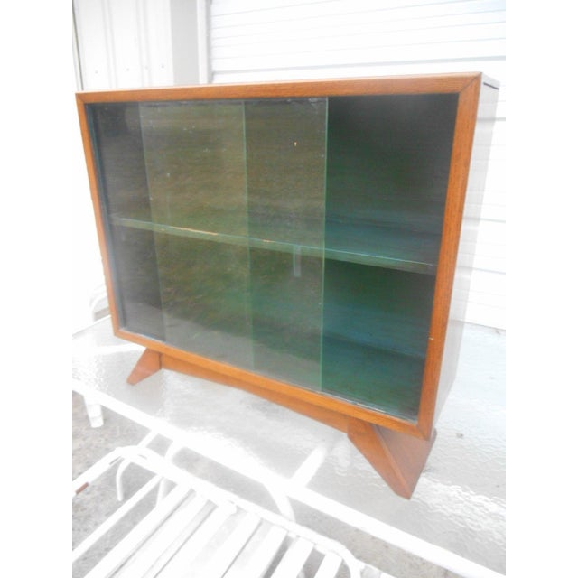 1930's Art Deco Petite Sliding Glass Door Bookcase For Sale - Image 5 of 8