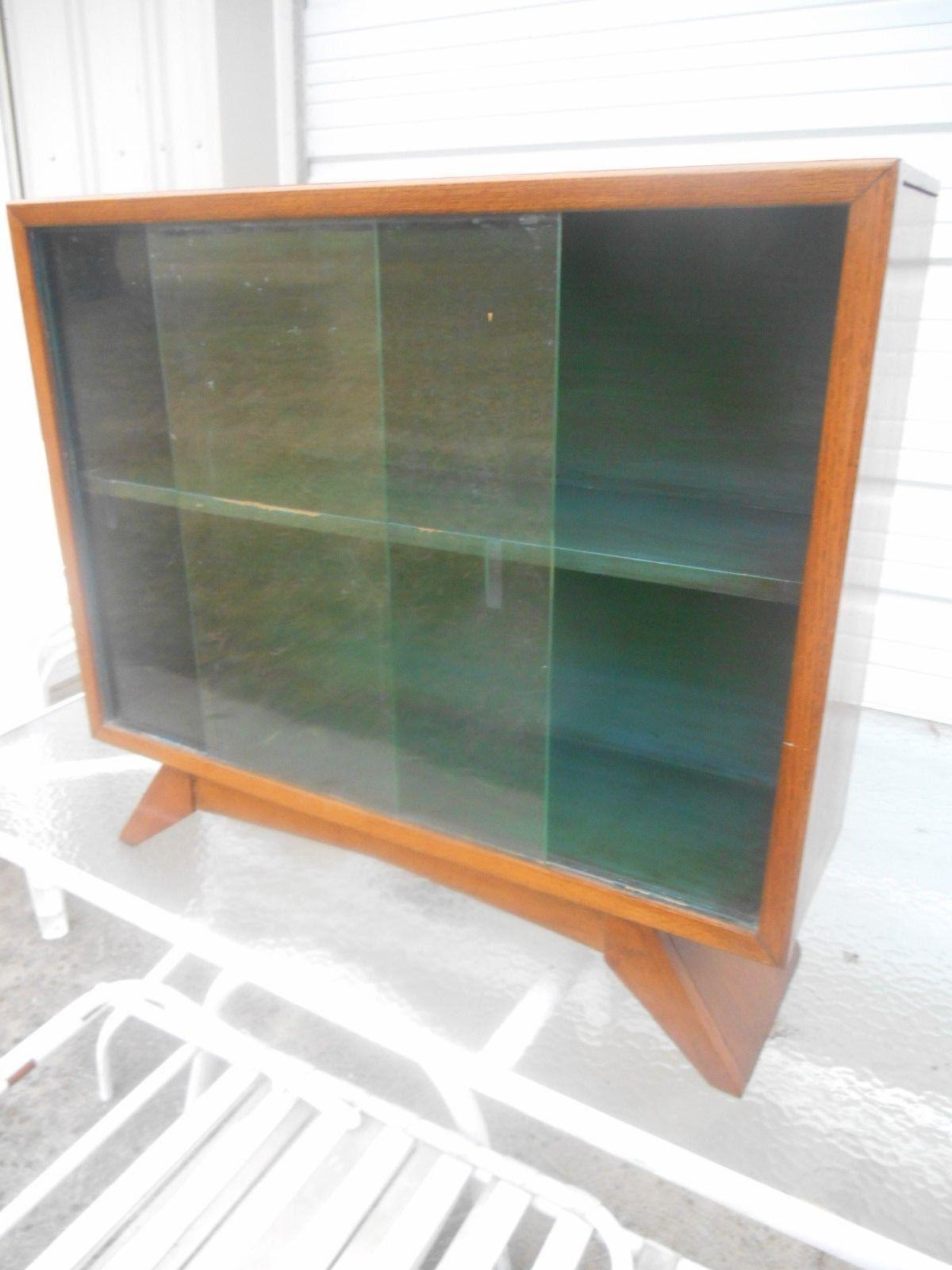 1930u0027s Art Deco Petite Sliding Glass Door Bookcase For Sale   Image 5 ...