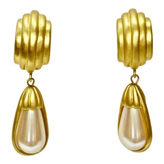 Givenchy Carved Gold Pearl Danglel Earrings For Sale