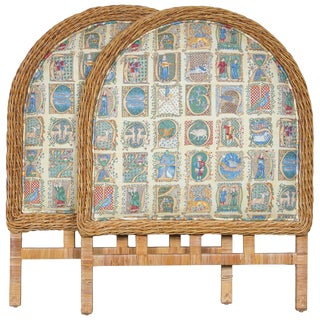 Pair of Arched Wicker/Rattan Twin Size Headboards For Sale