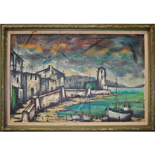 Mid Century Painting of Mediteranean Port For Sale