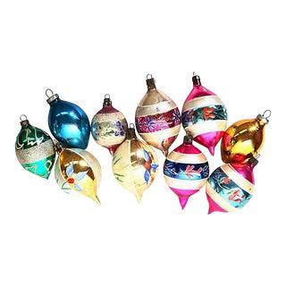 Vintage Mid-Century Glass Christmas Balls, Set of 10 For Sale