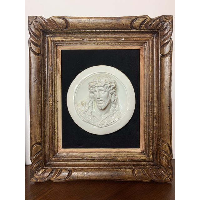 19th Century Glazed Chalkware Wall Mounting High Relief Bust Cameos - a Pair For Sale - Image 10 of 13