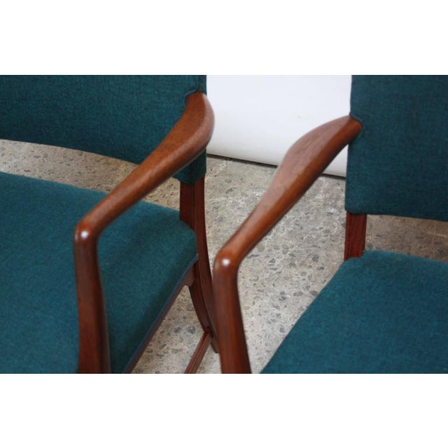 Green Pair of Danish Modern Sculptural Teak Armchairs For Sale - Image 8 of 10