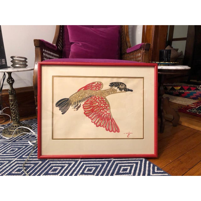 Metal Gold/ Red/ Black Bird Acrylic Painting in Red Bamboo Frame For Sale - Image 7 of 12