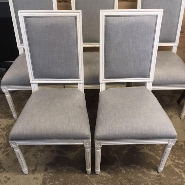 In a retired white finish that Restoration Hardware mo longer offers. Gray linen seats and back, and many classic French...