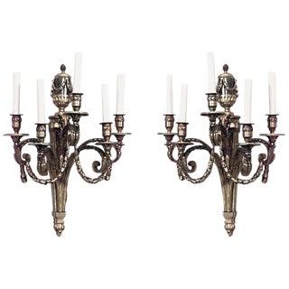 Louis XVI Style 19th-20th Century Bronze Doré Five-Arm Wall Sconces - a Pair For Sale
