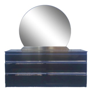 Vintage 1980s Black Lacquer & Chrome Accent Six Drawer Dresser With Mirror For Sale