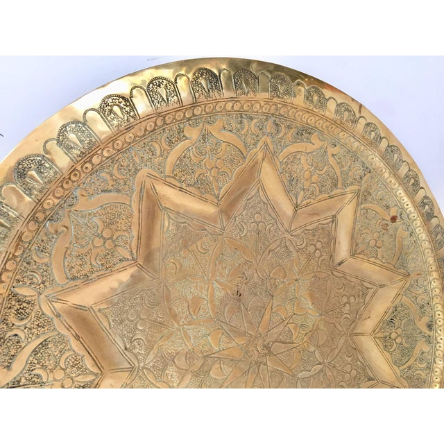 1900 - 1909 Middle Eastern Persian Antique Round Brass Tray For Sale - Image 5 of 8