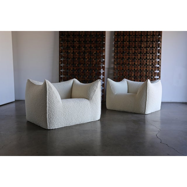 Mario Bellini Le Bambole Lounge Chairs for B&B Italia, circa 1985. This pair has been expertly restored in alpaca boucle.