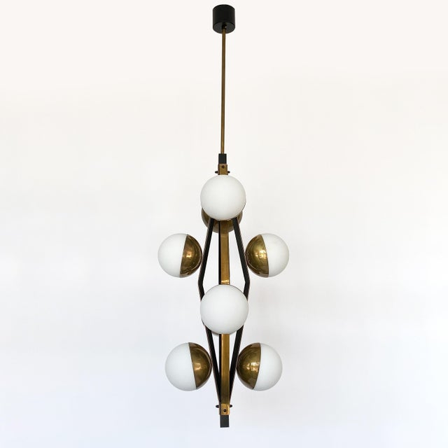 Stilnovo Pair of Stilnovo Brass Eight Globe Pendant Chandeliers For Sale - Image 4 of 13