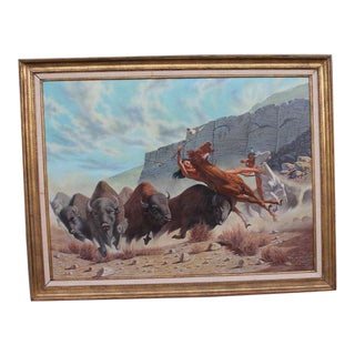 Monumental 20th Century Western Oil Painting For Sale