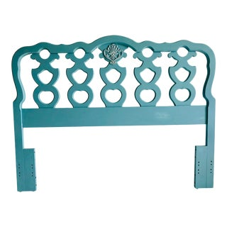 French Style Decor Painted Blue Headboard 60 X 47 For Sale