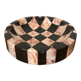 Checkered Italian Marble Ashtray For Sale