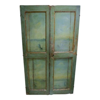 18th Century Venetian Hand Painted Sail Boating Scenes Wood Doors - a Pair For Sale