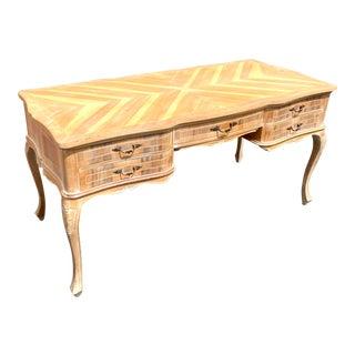 Vintage Hollywood Regency Italian Chevron Writing Desk For Sale