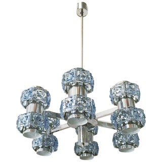 Blue Faceted Crystal Chandelier by Sciolari For Sale