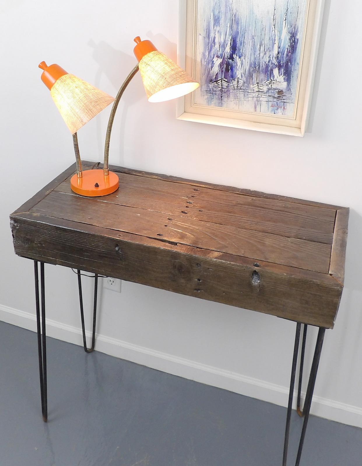 Reclaimed Fingered Redwood Hairpin Legs Sofa Table   Image 2 Of 11
