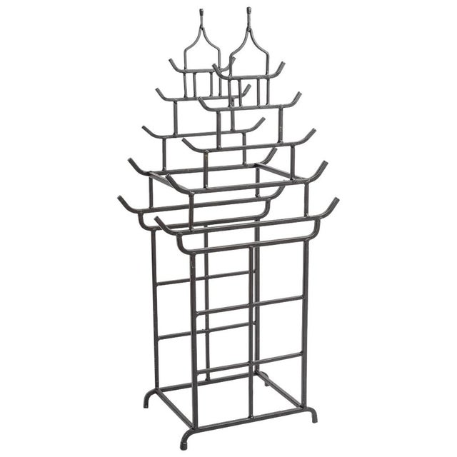 Chinoiserie Steel Pagoda Shape Umbrella Stand For Sale - Image 9 of 9