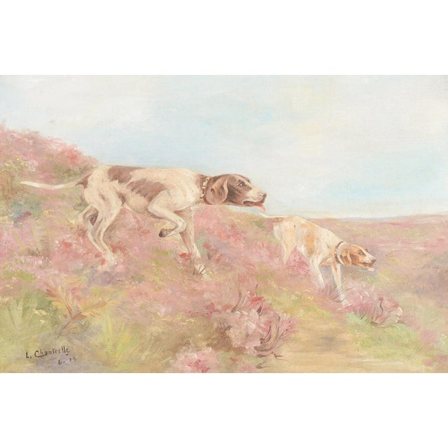 English Traditional Hunting Hounds Oil Painting by L. Chantrelle For Sale - Image 3 of 8