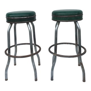 Pair of Vintage Original Cosco Swivel Top Barstools For Sale