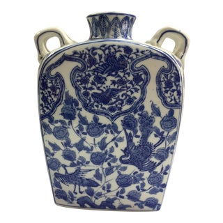 Blue and White Chinoiserie Porcelain Vase For Sale