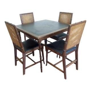 Vintage Folding Faux Bamboo Card Table With Black Vinyl and 4 Matching Cane Back Chair, 5-Piece Set For Sale