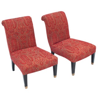 "Pair of ""Jansen"" Slipper Chairs With Brass Caster Legs For Sale"
