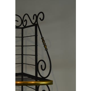 French Country Style Vintage Quality Iron & Brass Corner Bakers Rack Preview