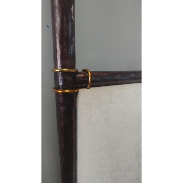 Metal Henredon Furniture Jeffrey Bilhuber Hammered Metal Bank St Queen Canopy Bed For Sale - Image 7 of 12