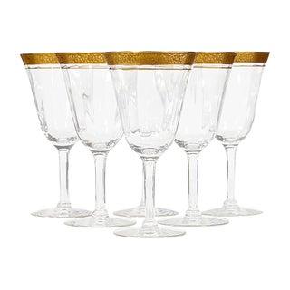 Art Deco Gilt Rim Wine Stems, Set of 6