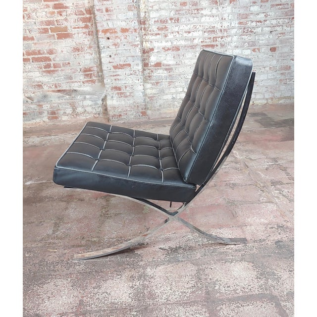 Animal Skin Barcelona Chairs -Beautiful Vintage Black Leather Seats -A Pair For Sale - Image 7 of 11