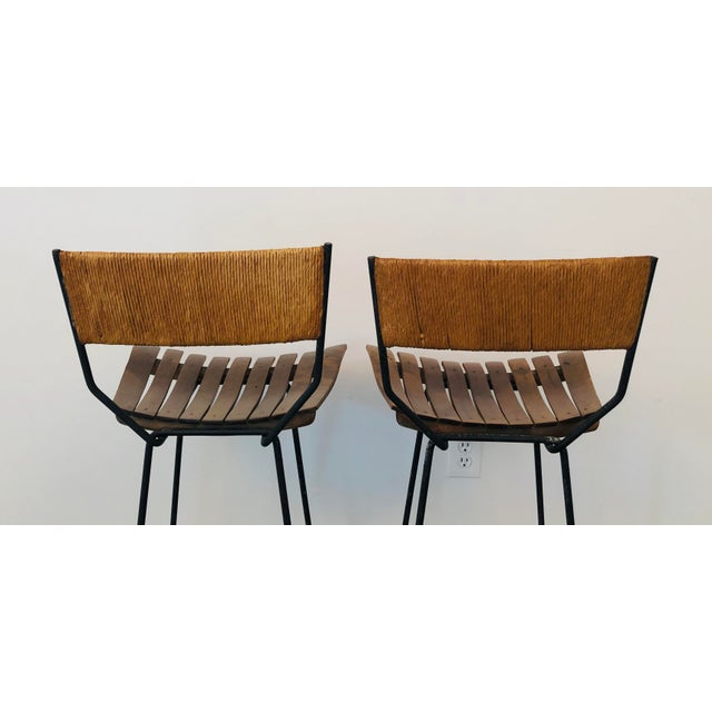 Mid-Century Modern Arthur Umanoff Slat Bar Stools for Raymor- a Pair For Sale In Washington DC - Image 6 of 9