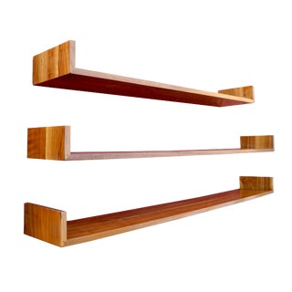 Mid-Century Modern Set of Walnut Hanging Book Shelves by Mel Smilow For Sale