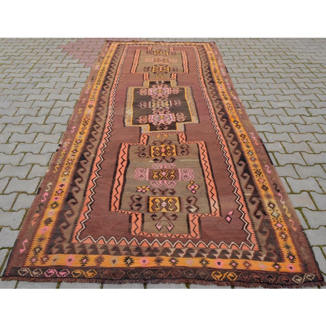 Turkish Hand Woven Kilim Rug - 5′1″ X 12′6″ - Image 3 of 10
